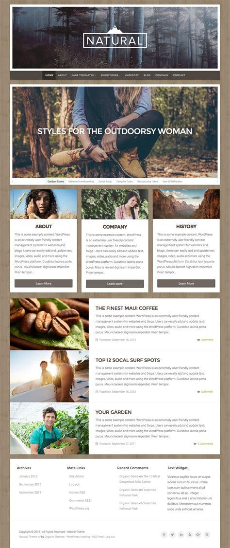 themes wordpress nature natural wordpress theme themes templates