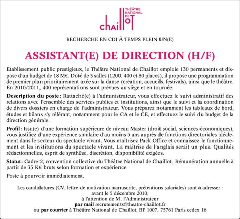 Exemple Lettre De Motivation Assistant Administrative Assistante De Direction