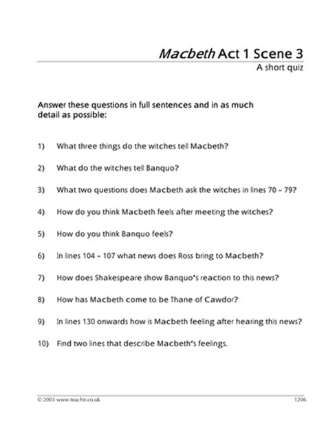 themes in macbeth act 1 scene 2 macbeth worksheets worksheets releaseboard free