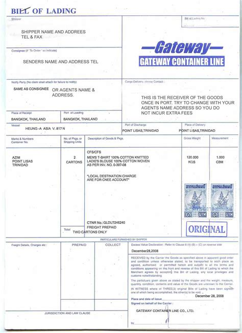 thailand bill of lading and what it means in thailand