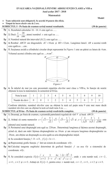 modele subiecte evaluare nationala 2018 matematica
