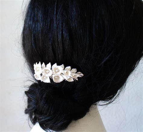 buy lily hair bridal flower hair comb white calla lilies hair comb