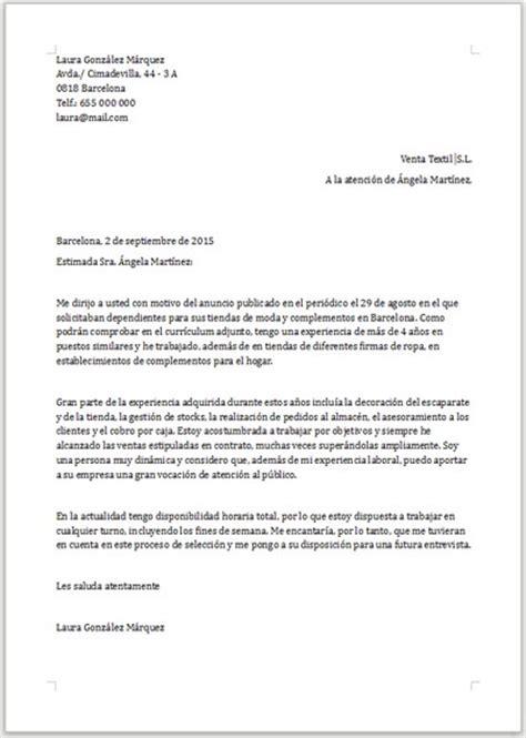 Modelo De Carta De Presentacion Para Un Curriculum Vitae Ejemplo De Carta De Presentaci 243 N Para Dependienta