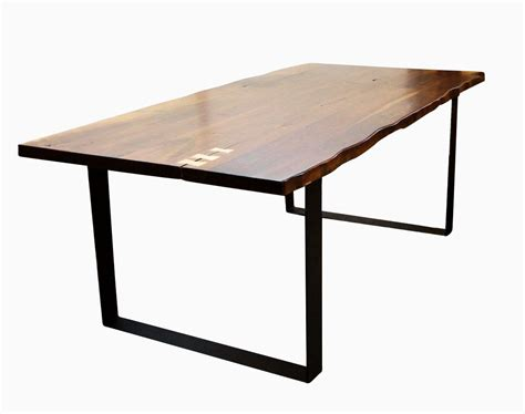 Dining Table Iron Legs Buy A Custom Made Live Edge Walnut Dining Table With Flat Iron Legs Walnut Edge Look