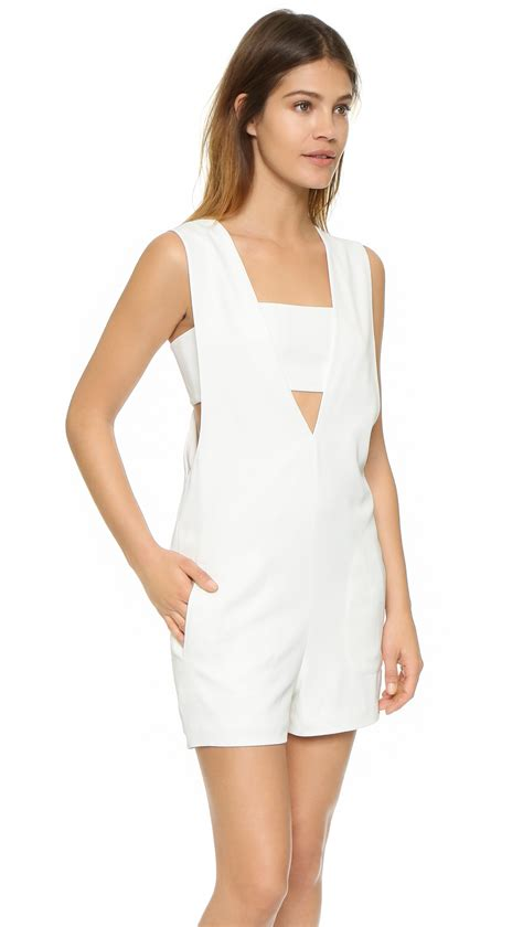 White Low V Neck Dress T081 t by wang low v bandeau romper in white lyst
