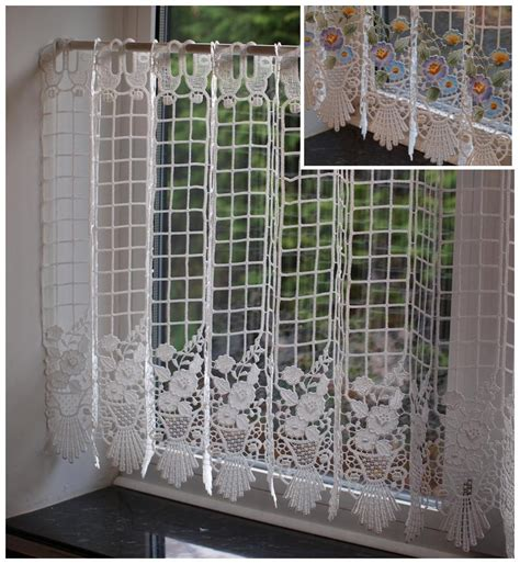 24 inch kitchen curtains macrame lace ready made cafe net kitchen curtain panel