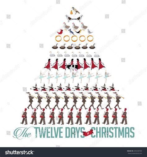 all twelve days christmas tree stock illustration