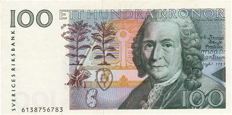 currency sek 100 swedish krona banknote 1996 carl linnaeus world