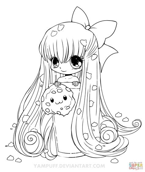 chibi cookie girl coloring page free printable coloring