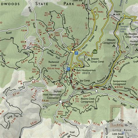 big basin trail map bay area trail map big basin and castle rock