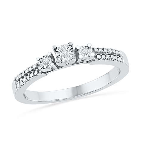 accent three promise ring in sterling silver