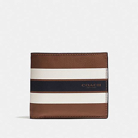 Coach Wallet F75399 Compact Id Stripe Saddle coach f75399 compact id wallet in varsity leather