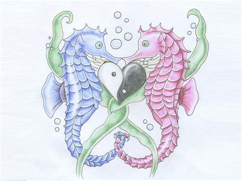 great love of two seahorses tattoo design for girls picsmine