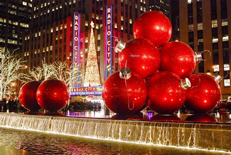 nyc nyc giant christmas ornaments at 1251 sixth avenue