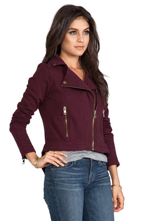 Flece Tebal Sweater Jaket Model 15 lyst chaser fleece moto jacket in burgundy in
