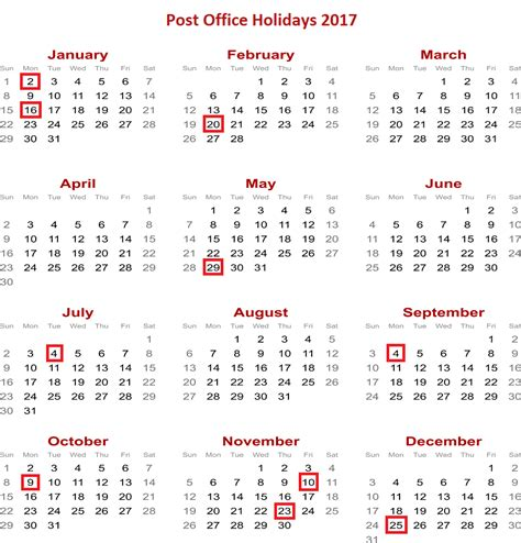 Post Office Schedule by Post Office Calendar 2017