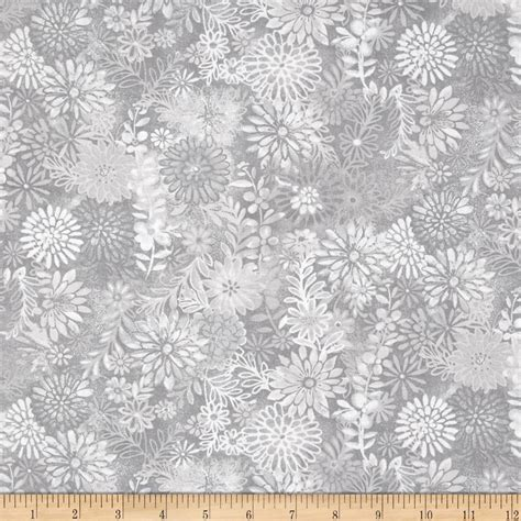 Wide Quilting Fabric by 44 Quot Wide Quilt Packed Floral Grey Discount Designer