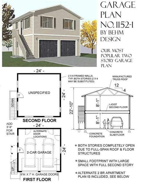 2 story apartment floor plans behm design garage apartment plans no 1152 1 garage