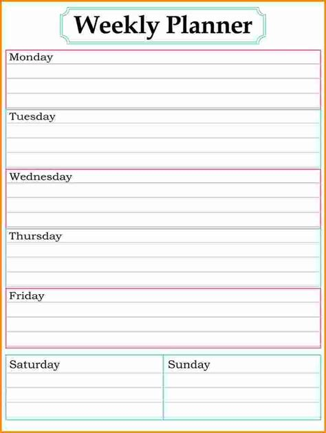Weekly Planner Printable Free Template | 8 free weekly planner template authorization letter