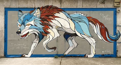 designed on surface creating a magical wolf mural with