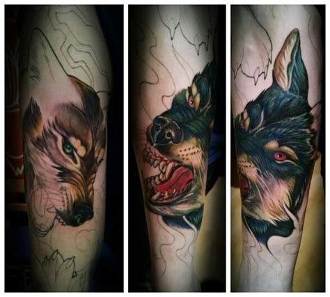 2nd session of my good wolf vs bad wolf sleeve done by