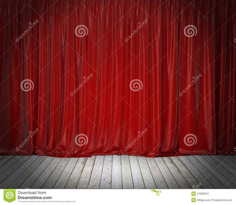 stage background design template red stage curtain and wooden floor background stock