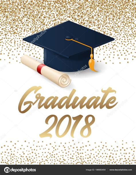 graduation scroll template class of 2018 graduation poster with hat and diploma