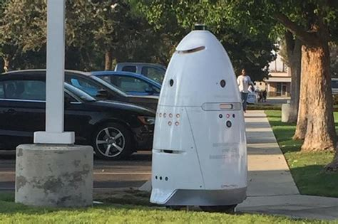 Parking Lot Robot by Security Robot Patrols Parking Lot At California