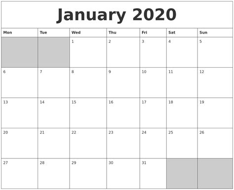 blank calendar template starting with monday january 2020 blank printable calendar