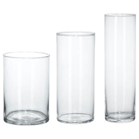 Cylinder Vase by Cylinder Vase Set Of 3 Clear Glass