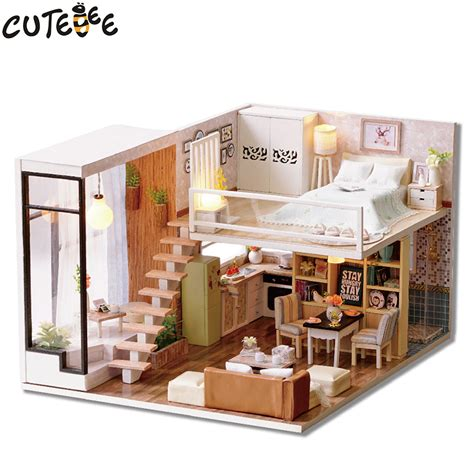 children doll house cutebee doll house miniature diy dollhouse with furnitures wooden house waiting time