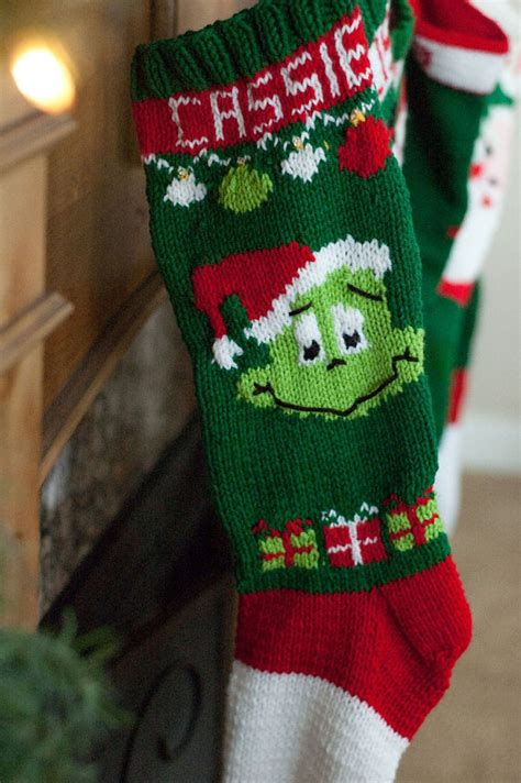knit stocking pattern christmas easy knit christmas stocking pattern grinch by sweetlymadejustforu