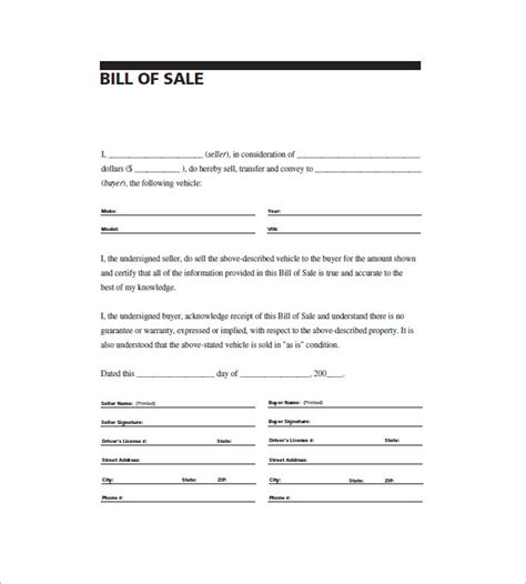 General Bill Of Sale 14 Free Word Excel Pdf Format Download Free Premium Templates Generic Bill Of Sale Template Free