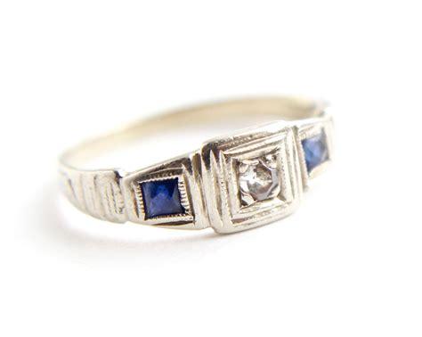 antique 14k white gold sapphire ring deco