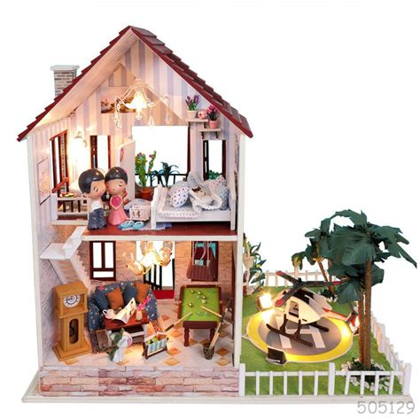 model doll house kits miniature wooden diy assembling doll house model house kit unique big size villa toy
