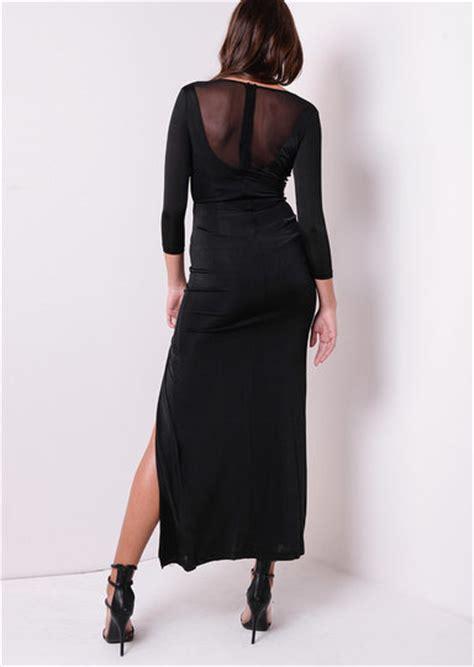 Dress Step Black Lu slinky thigh high split lace up dress black