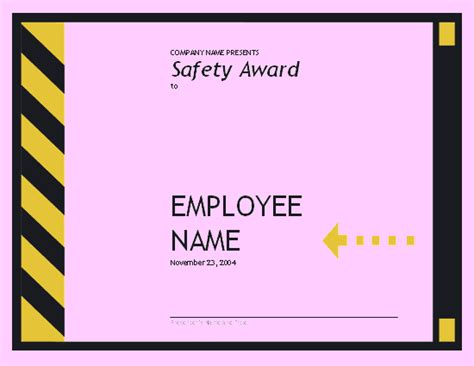 safety award certificate template employee safety award free certificate templates in