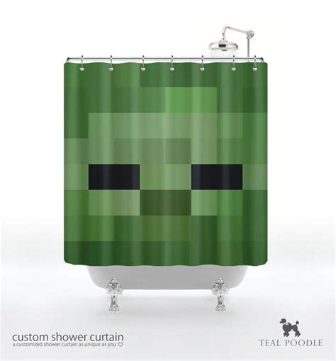 zombie pinup shower curtain zombie shower curtain geekster mine craft video game