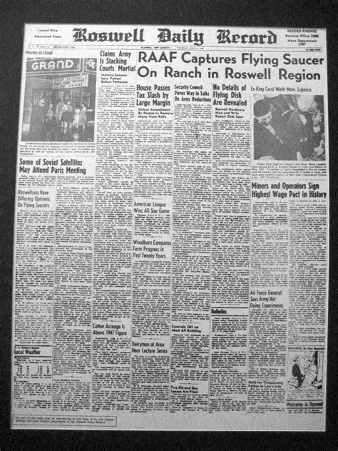 Roswell Nm Records Ufo Sightings Daily This Day In History Roswell Ufo Incident Crash And Recovery