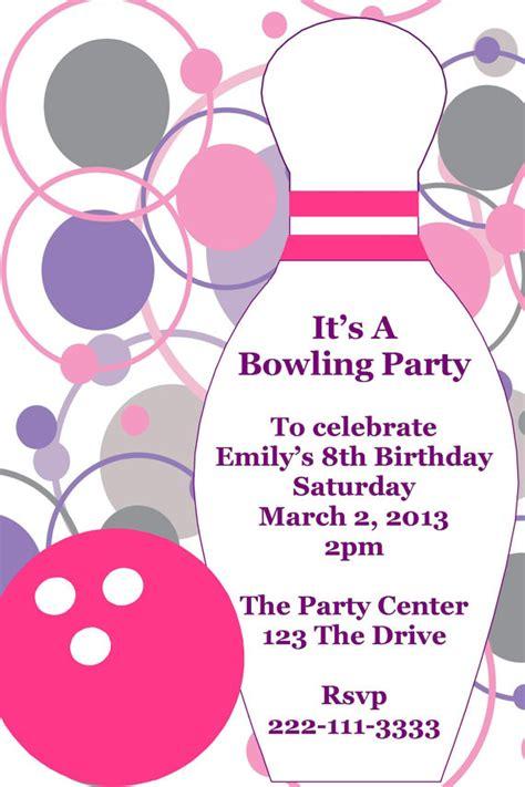 printable birthday party invitations bowling girl s bowling printable birthday party invitation