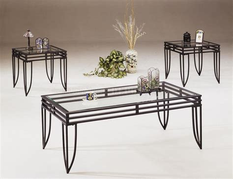 black metal and glass coffee table black metal base 3pc coffee table set w clear glass tops