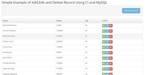 codeigniter tutorial user registration exle of add edit and delete record using codeigniter
