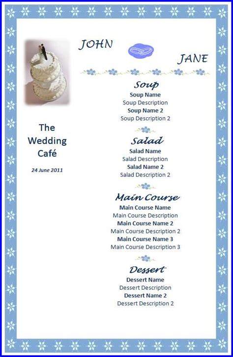wedding menu template ms word templates ms word templates