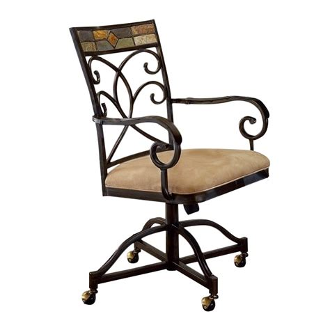 hillsdale pompei fabric arm dining chair in black and gold
