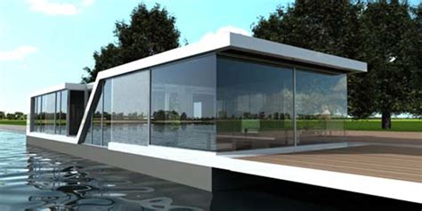 bedroom design floating glass house water villa