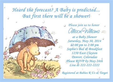 Classic Pooh Invitations Baby Shower by Classic Pooh Umbrella Baby Shower Invitations By