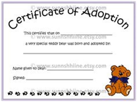 teddy birth certificate template free printable stuffed animal adoption certificate free