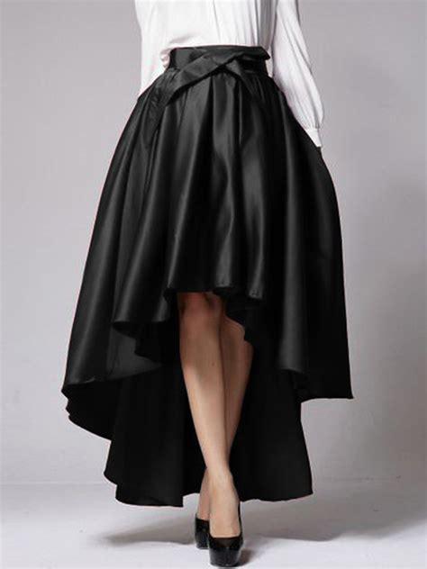 black bowknot waist hi lo skater skirt choies