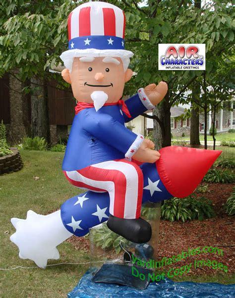 yard inflatables air blown patriotic sam on rocket