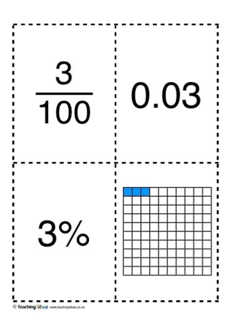 decimal card games printable fractions decimals and percentages cards teaching ideas